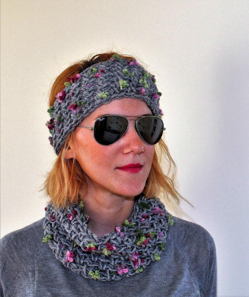 29bba720 Soft neck warmer matching headband Crochet scarf and turban | Etsy