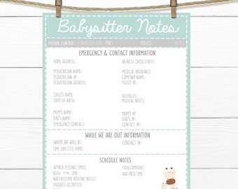 printable infant teal emergency contacts schedule etsy