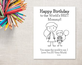 Birthday Coloring Printable Boy Mom Pony Tail Card To Mommy From Son