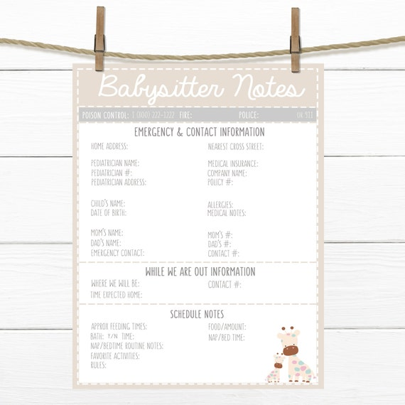 printable cute babysitter notes beige emergency contacts etsy