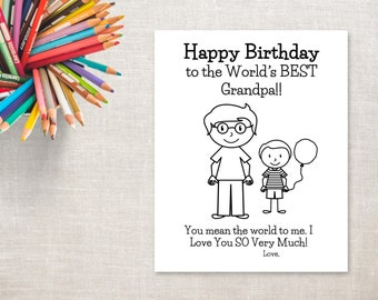 Birthday Coloring Printable- Boy & Grandpa- Birthday Card to Grandpa from Grandson