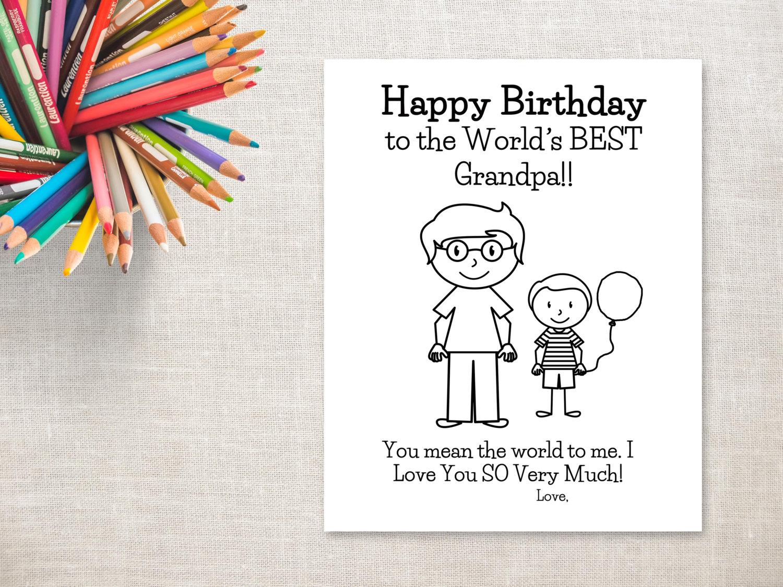 Cumpleaños para colorear para imprimir-Boy y abuelo tarjeta | Etsy