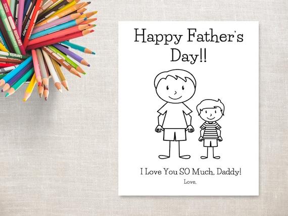 Día del padre para colorear imprimibles-Boy y Daddy tarjeta | Etsy