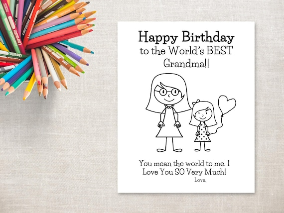 Birthday Coloring Printable Girl Grandma Long Hair