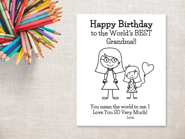 Para colorear de cumpleaños para imprimir niña y abuela | Etsy