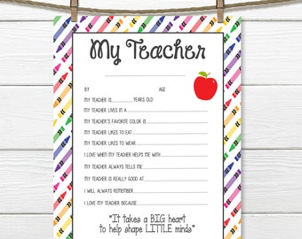 Crayons- All About My Teacher-Teacher Appreciation Printable-Digital File- End of Year Gift