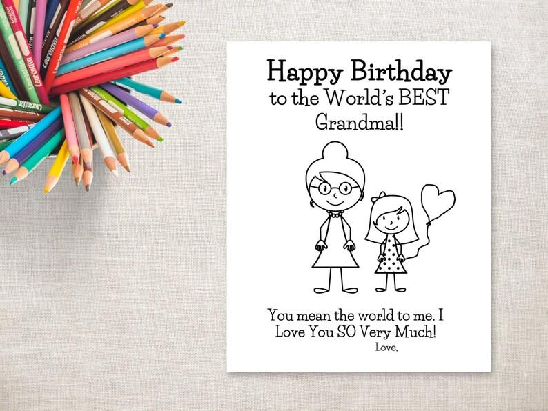 Disegni Da Colorare Stampabili Ragazza Di Compleanno Nonna Etsy
