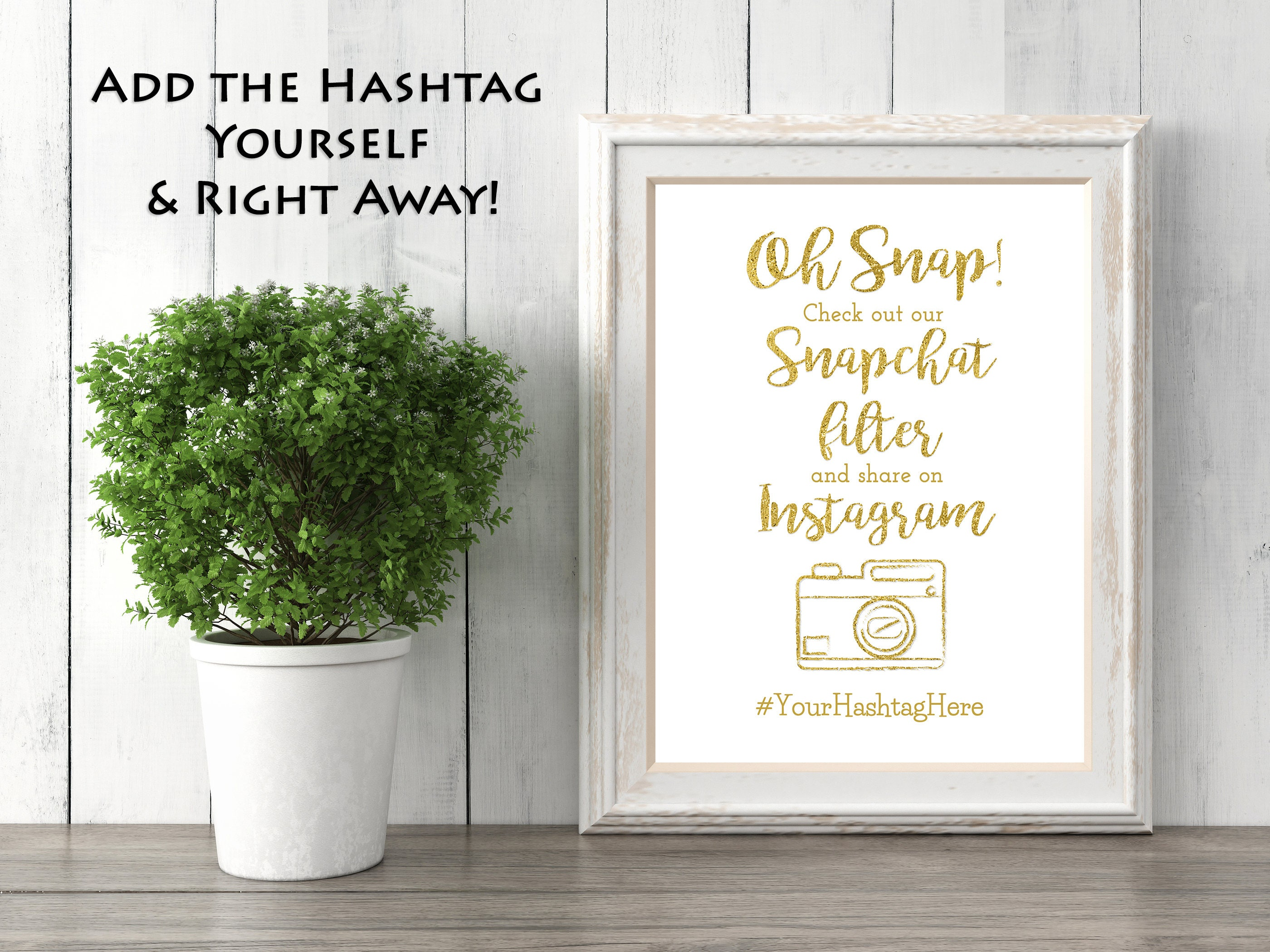 Customizable Gold Sparkle Paper Snapchat Filter Sign- Wedding Sign- with  Hashtag (5x7 size option)