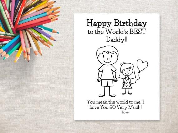 Birthday Coloring Printable Girl Dad Birthday Card To Etsy