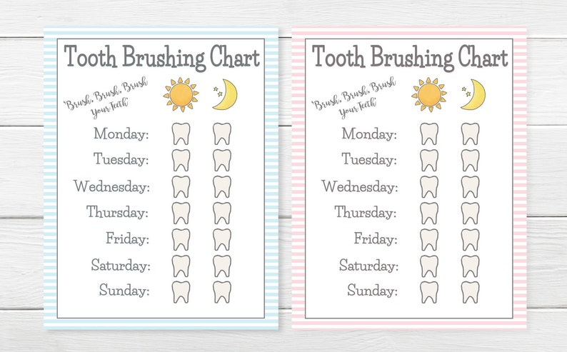 photo about Printable Tooth Brushing Charts called PRINTABLE- Women Boys- Enamel Brushing Chart- More youthful Little one/Baby Enamel Brush Chart