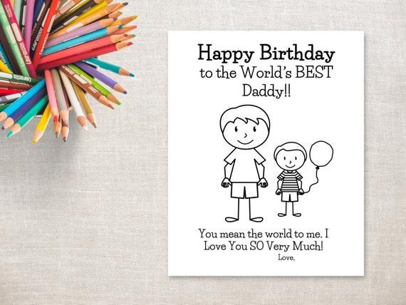 Cumpleaños Para Colorear Para Imprimir Boy Tarjeta De Cumpleaños De Papá A Papá Del Hijo