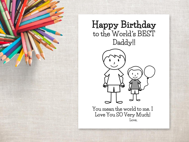 Cumpleaños para colorear para imprimir-Boy & tarjeta de | Etsy