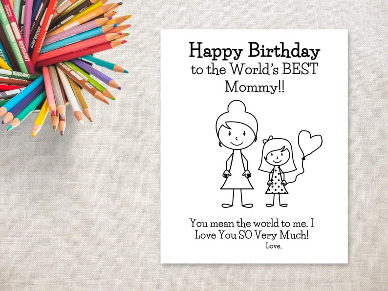 photo regarding Birthday Cards for Mom From Daughter Printable called Birthday Coloring Printable- Woman Mother (with bun)- Birthday Card towards Mommy against Daughter