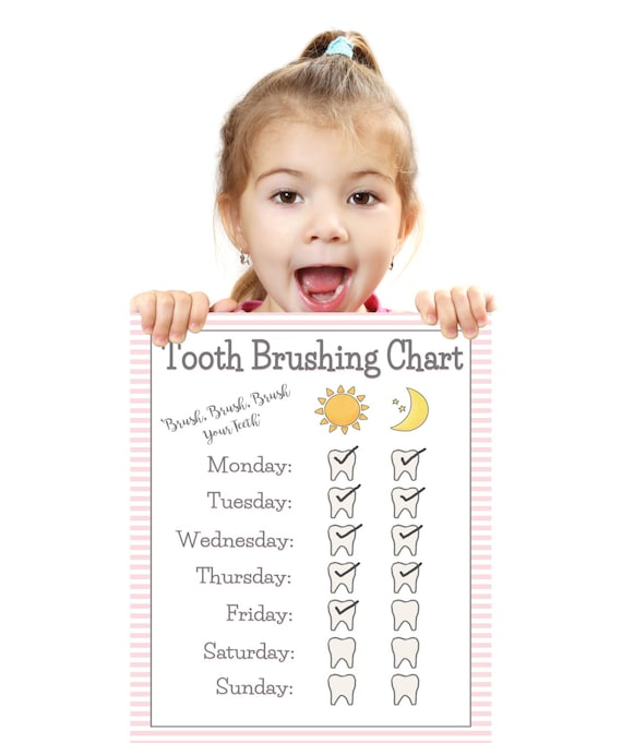 graphic about Printable Tooth Brushing Charts referred to as PRINTABLE- Women Enamel Brushing Chart- Younger Baby/Little one Enamel Brush Chart