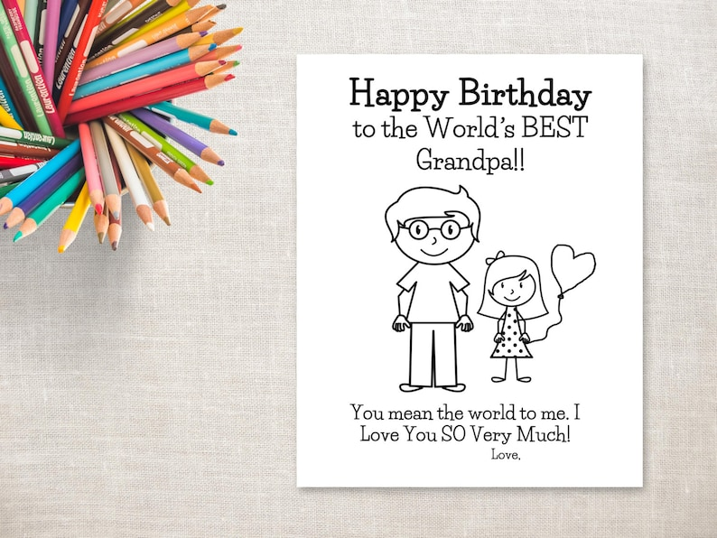 Birthday Coloring Printable Girl Grandpa Card To