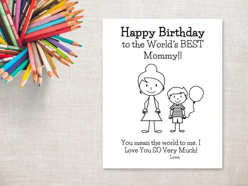Anniversaire Jour Coloriage Imprimable Boy Maman à Chignon Carte D Anniversaire à Maman De Fils