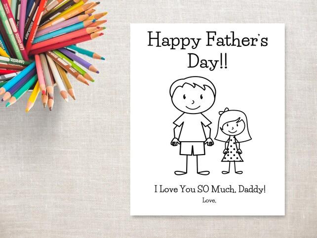 Día del padre para colorear imprimibles-chica & Daddy | Etsy