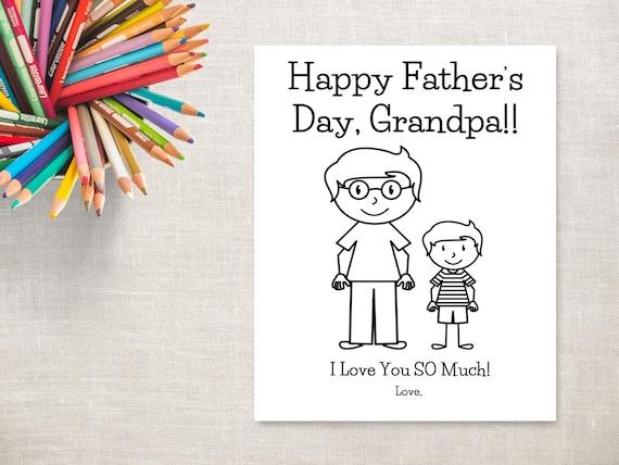 Día del padre para colorear imprimibles-Boy & tarjeta de | Etsy
