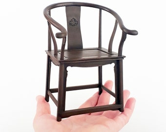 Armchair chinese furniture style Ming & Qing, scale 1:6 for doll and BJDs, miniature dollhouse diorama, 3d printing