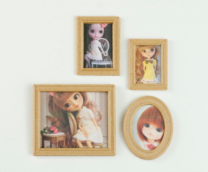 Miniature photo frame set 1:6 for home dolls pullip blythe image 0