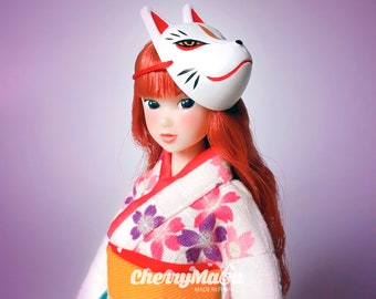 Kitsune Japanese Fox mask for dolls Pullip, Blythe, Dal, BJDs...