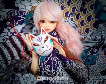 Kitsune mask Suzune, Japanese fox mask for dolls Blythe, Pullip, BJDs...
