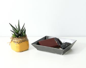 Men's Valet Tray Organizer - Small  |  metal valet dresser tray catchall desk organizer gift for him gift for dad