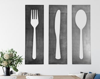 Fork Knife Spoon Wall Art Panel Set |  fork and spoon decor large kitchen wall art modern metal decor