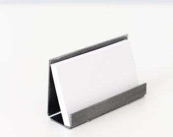 steel business card holder desk accessory coworker gift idea modern rustic industrial office desk organizer - Unique Business Card Holder Desk