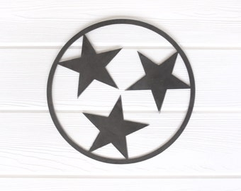 Tennessee Tri Star Outline State Metal Art