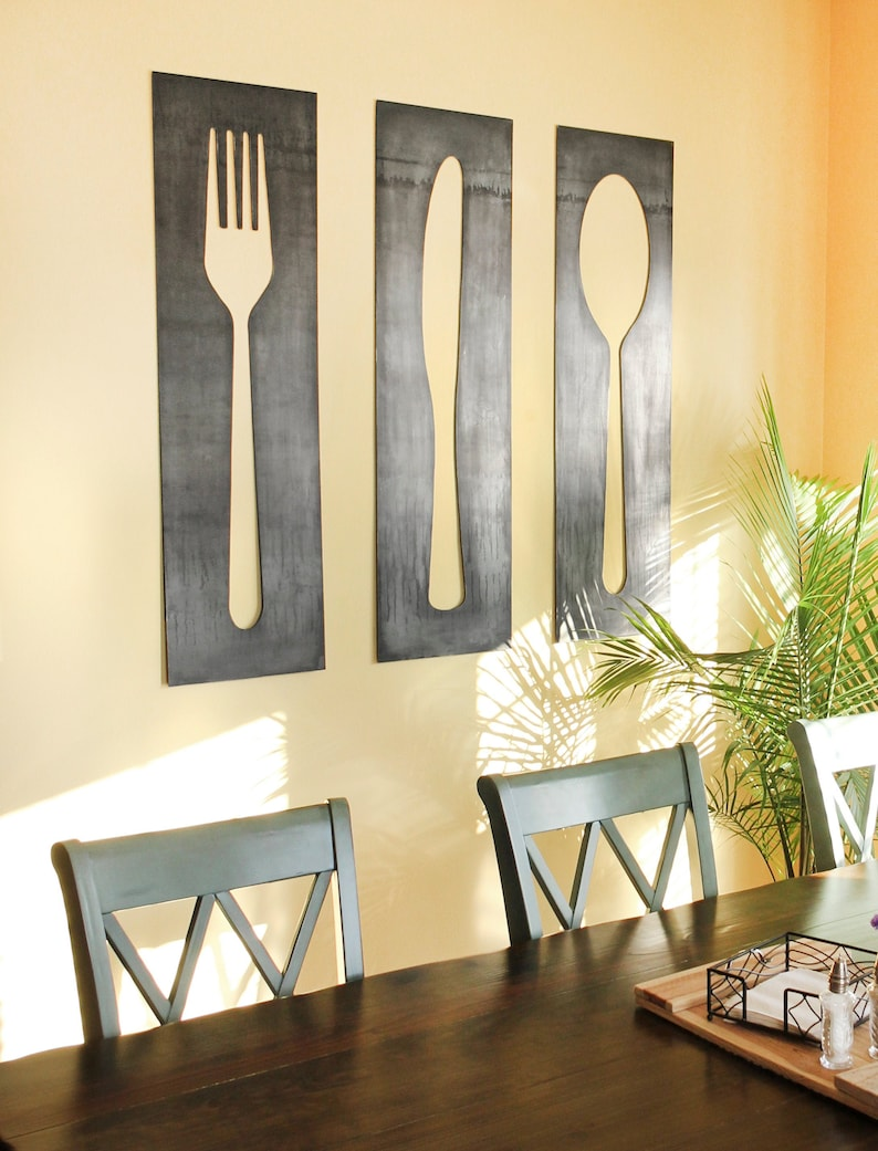 Fork Knife Spoon Wall Art Panel Set   fork and spoon decor image 0