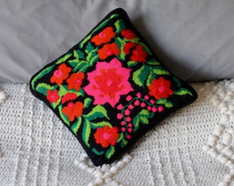 Needlepoint pillow in vivid pink and red flowers