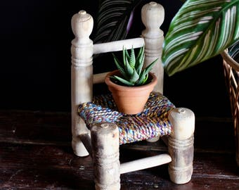 Small Handmade Chair with metallic colorful woven seat - perfect to hold a small plant
