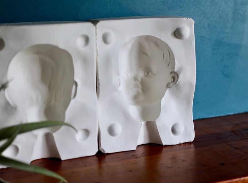 Boy's head mold - doll mold - plaster mold - doll parts - plaster block -  doll body - doll head - boy's part mold - head mold - creepy doll