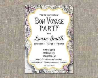 Bon voyage invite etsy bon voyage invitationsgoing away party invitationsfarewell inviten voyage party invites stopboris Image collections