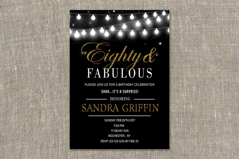 Surprise Party Invitations 80th Birthday Invites Eighty And
