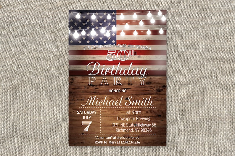 picture relating to Free Printable Patriotic Invitations referred to as Patriotic Invitation, Rustic Birthday Invitation, Rustic American Birthday Invitation, Grownup Birthday Bash, Printable electronic, 5x7