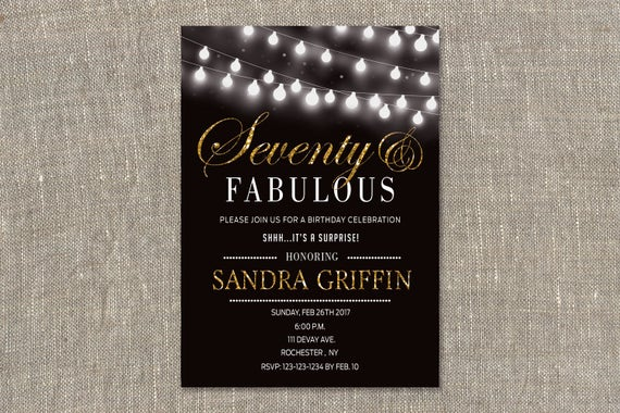 Surprise Party Invitations 70th Birthday Invites Seventy And