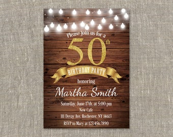 50th Birthday Invites, PRINTABLE Fifty Birthday Invitation, 50th birthday party invitations, Wooden 50 Birthday Invitation
