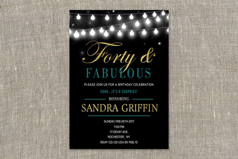 Surprise 40th Birthday Invites Gold Teal Forty And Fabulous Etsy