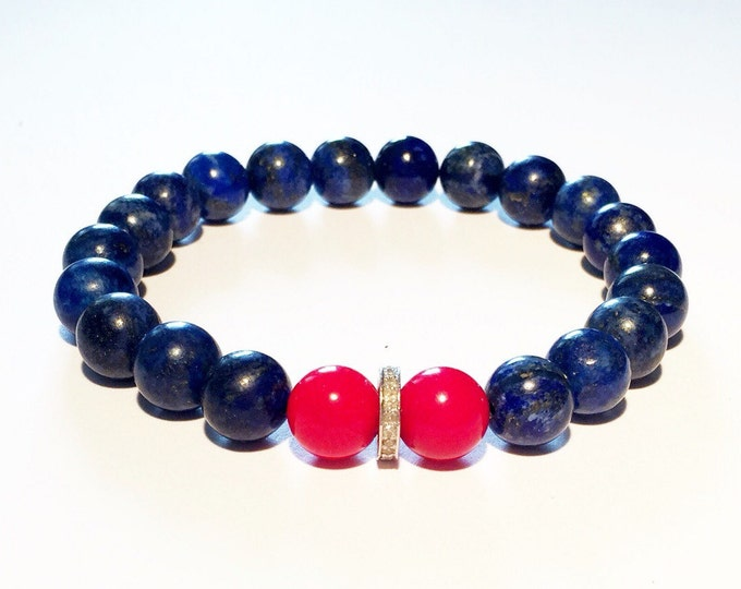 Blue and red gemstone bracelet with 0,22 carat pave diamond