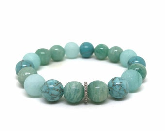 Amazonite, turquoise, diamond stretch bracelet;