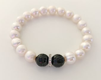 White freshwater pearl, black onyx and pave diamond bracelet