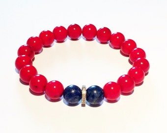 Red coral, blue lapiz and 0,22 carat pave diamond male bracelet