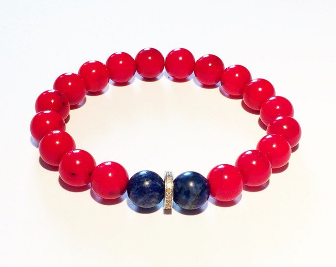 Red coral, blue lapiz and 0,22 carat pave diamond male bracelet