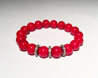 Red coral and pave diamond bracelet