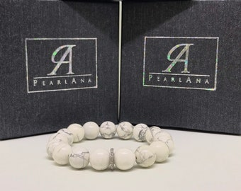 Pave diamond and natural howlite gemstone bracelet
