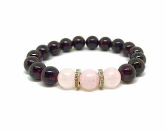 Rose quartz, garnet and pave diamond beaded stretch bracelet