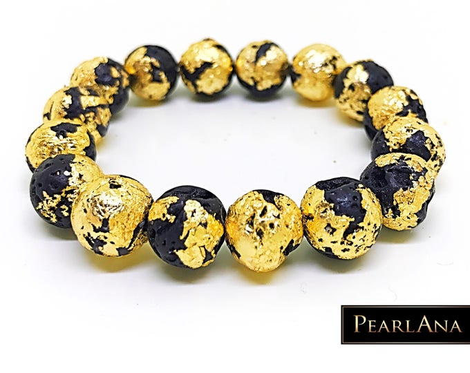 24k gold leaf bracelet with black lava stone