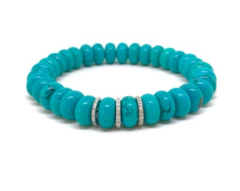 Beaded turquoise howlite and pave diamond bracelet